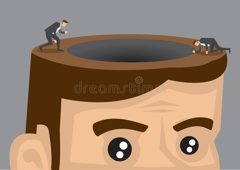 Ser humano de exploração Brain Vetora Cartoon Illustration ilustração royalty free