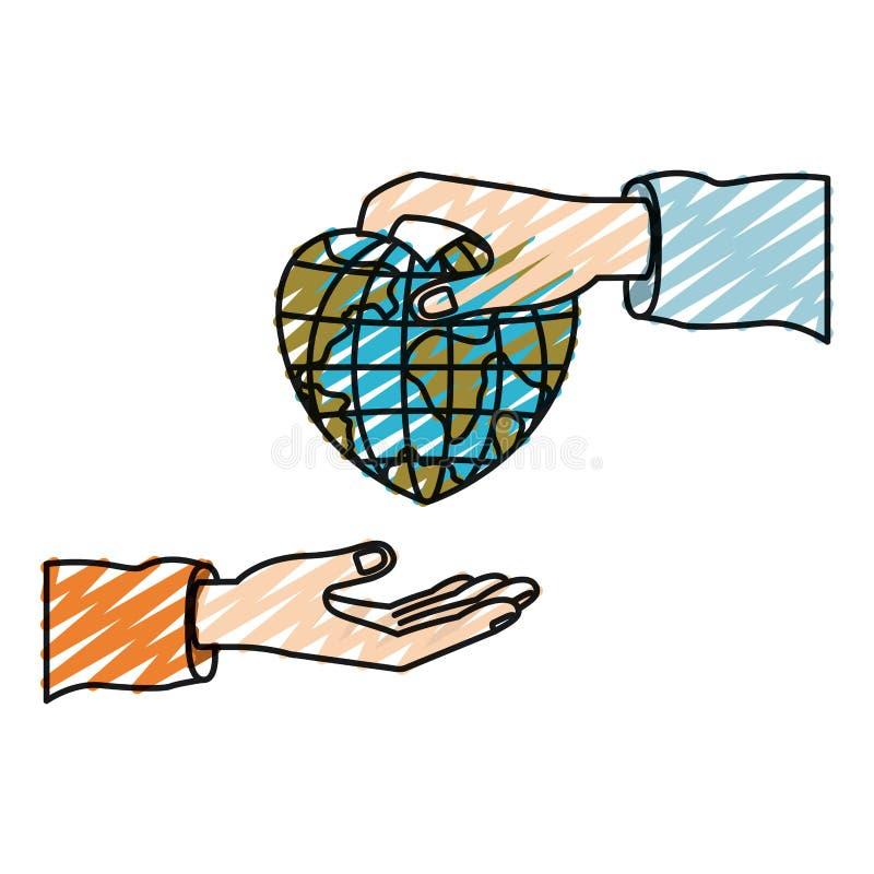 Ser humano de la palma de la silueta del creyón del color que sostiene un mundo del globo de la tierra en forma del corazón para  stock de ilustración