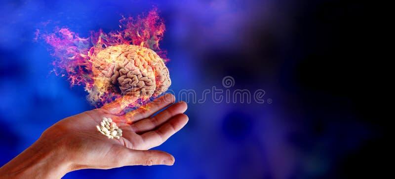 Ser humano del cerebro del dolor y de los síntomas Concepto fotos de archivo