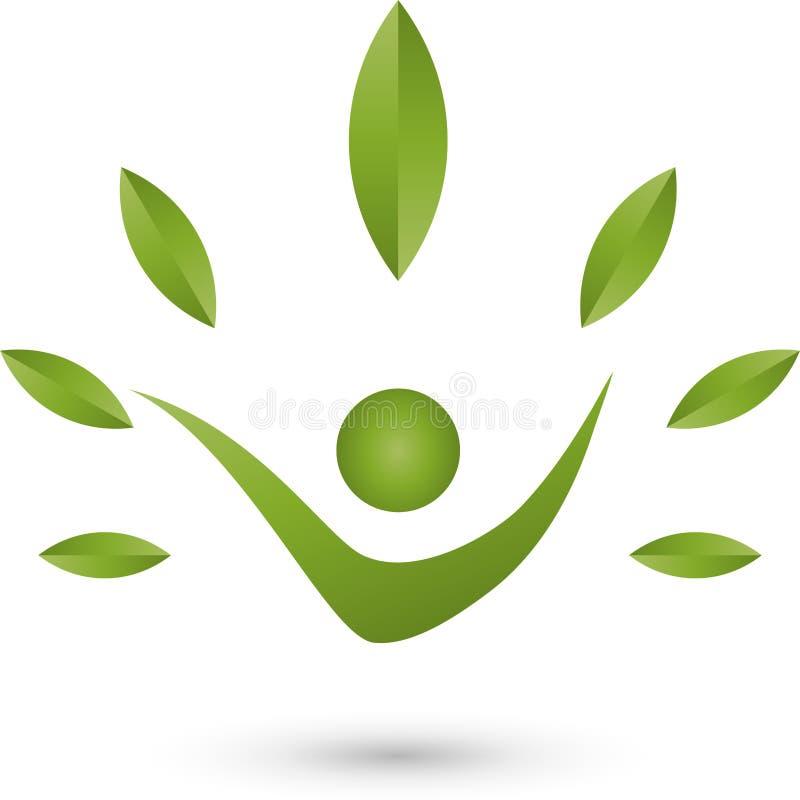 Ser humano e folhas, naturopath e logotipo da aptidão ilustração royalty free