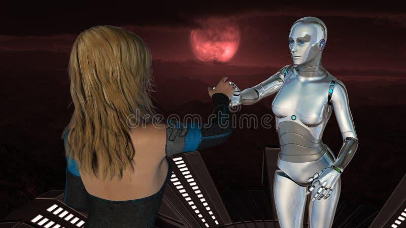 Ser humano e robô fêmeas - tecnologia de inteligência artificial