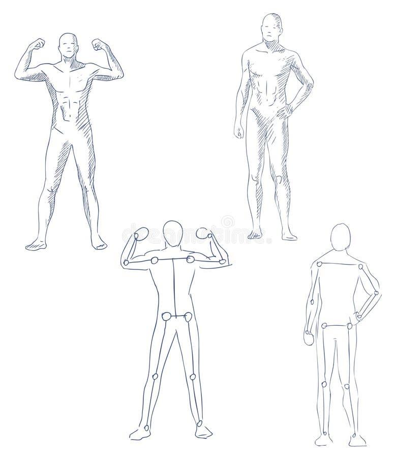 Ser humano en bosquejo artístico del movimiento stock de ilustración
