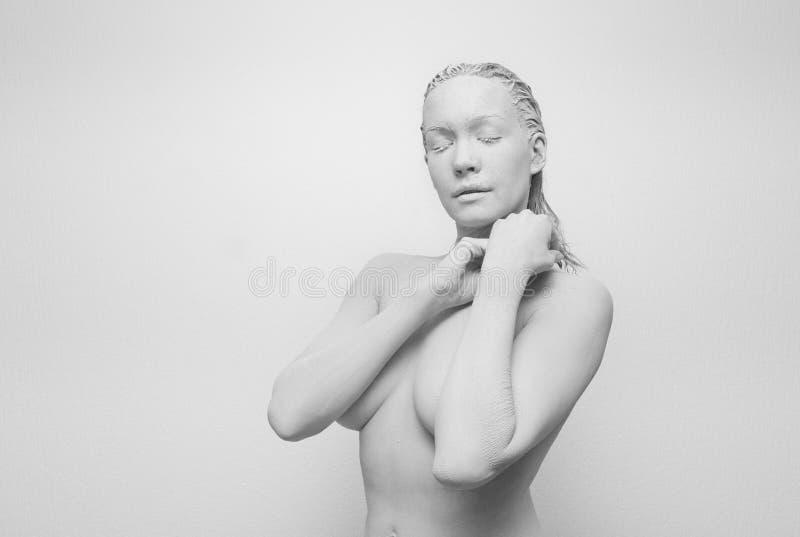 Ser humano en la arcilla, golem, estatua viva fotografía de archivo libre de regalías