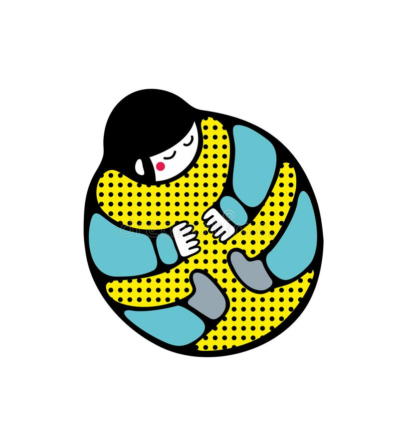 Ser humano extraño en actitud del beattle Ejemplo en estilo japonés stock de ilustración