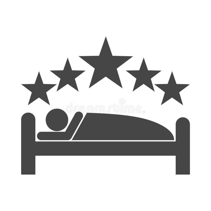 Ser humano no ícone do sinal da cama ilustração royalty free