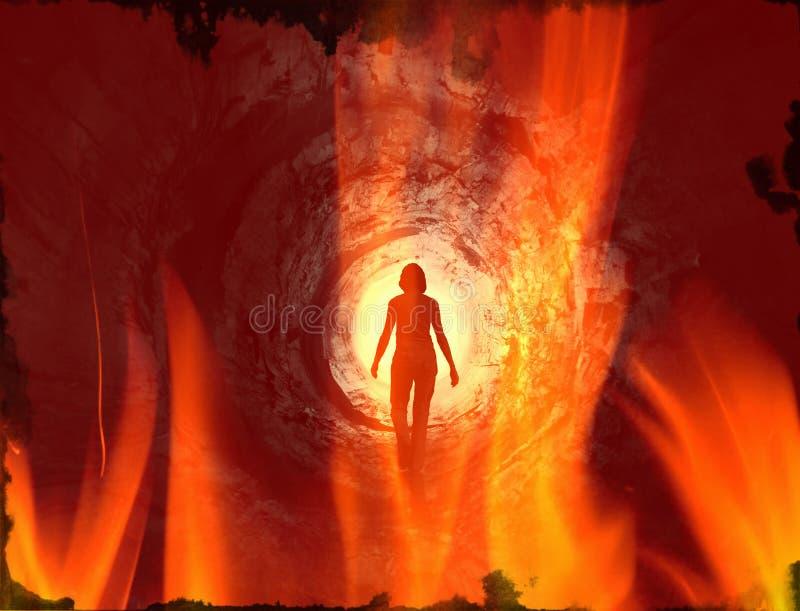 Ser humano que camina en el túnel en el fuego imagen de archivo
