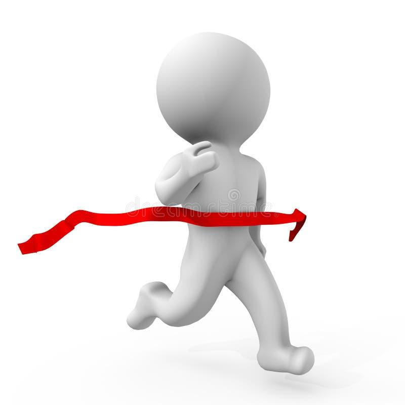 Ser humano que cruza la línea de acabamiento - una imagen 3d libre illustration