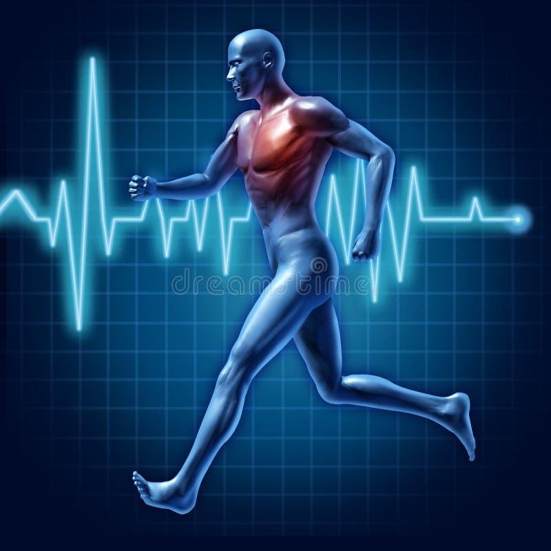Ser humano que ejecuta símbolo médico de la salud cardiovascular ilustración del vector