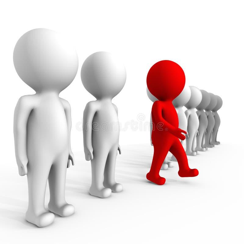 Ser humano que faz a diferença - uma imagem 3d ilustração stock