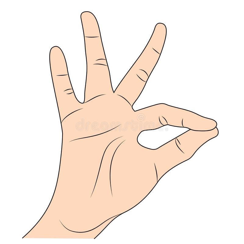 Ser humano que muestra gesto de mano aceptable libre illustration