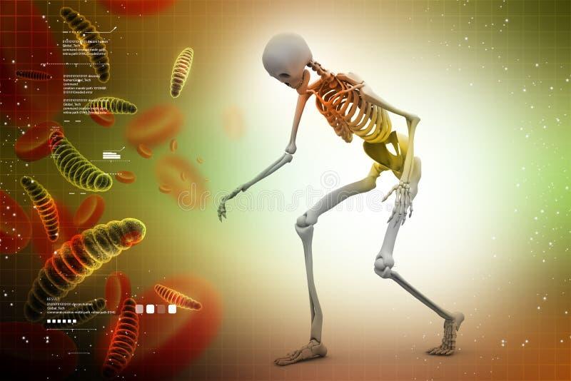 Ser humano Skelton con los virus stock de ilustración