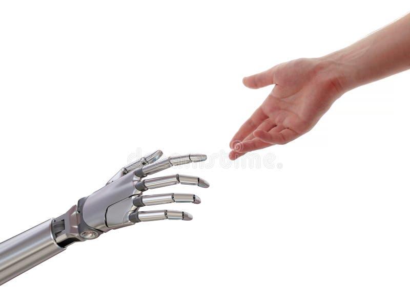 Ser humano y robot que tocan el ejemplo 3d aislado en el fondo blanco ilustración del vector
