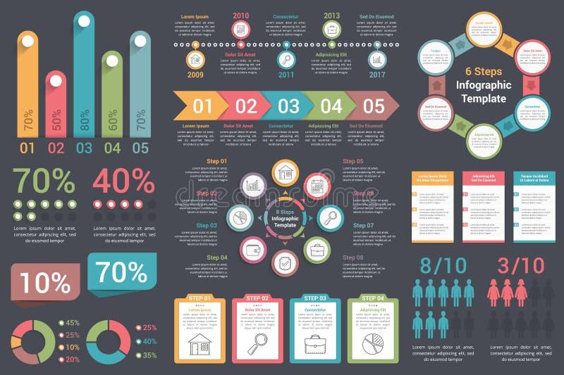 Infographic Elements. Ser of infographic elements on dark background stock illustration