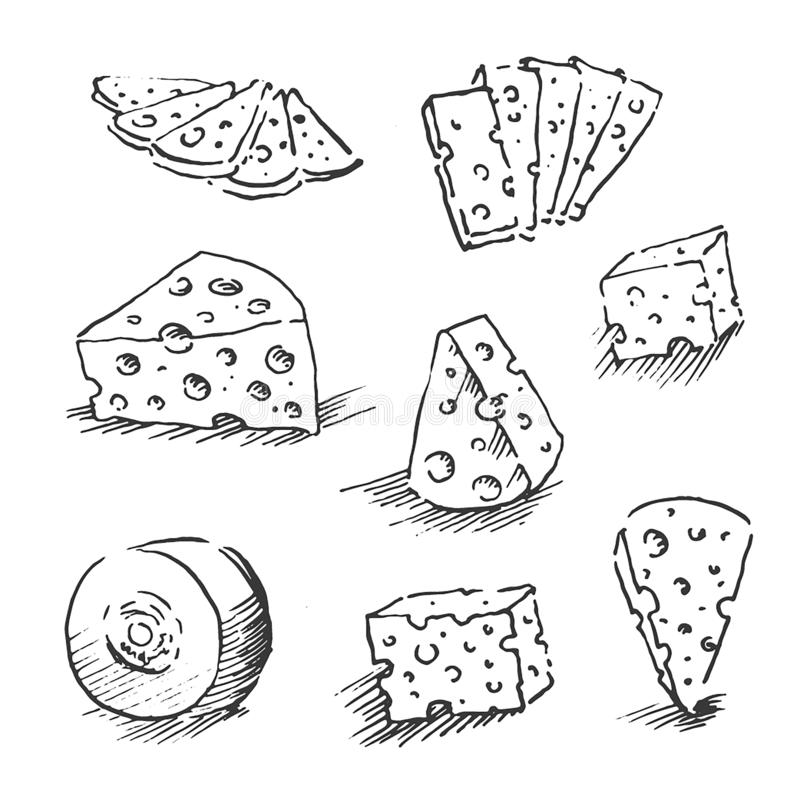 Ser odizolowywający na białym tle, ręka rysująca serowa konturu wektoru ilustracja Serowy nakreślenie, doodle kolekcja ilustracji