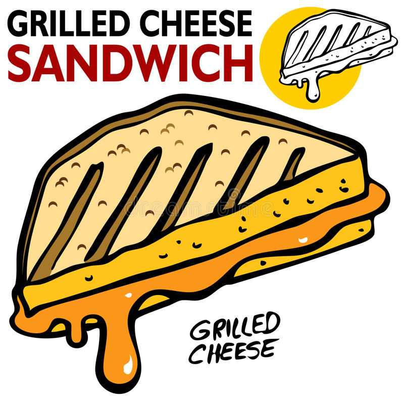 ser piec na grillu kanapka ilustracji