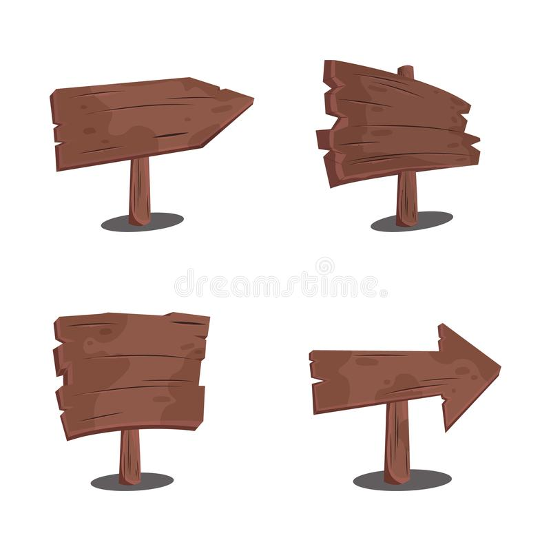 Ser of wood signs set. Cartoon style. royalty free illustration