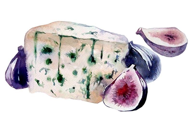 Ser z błękitną foremką z purpurowymi figami ilustracji