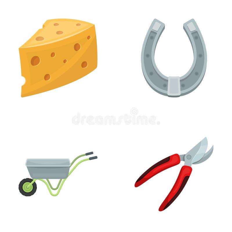 Ser z dziurami, tramwaj dla rolniczej pracy, podkowa robić metal, pruner dla tnących drzew, krzaki Gospodarstwo rolne ilustracji