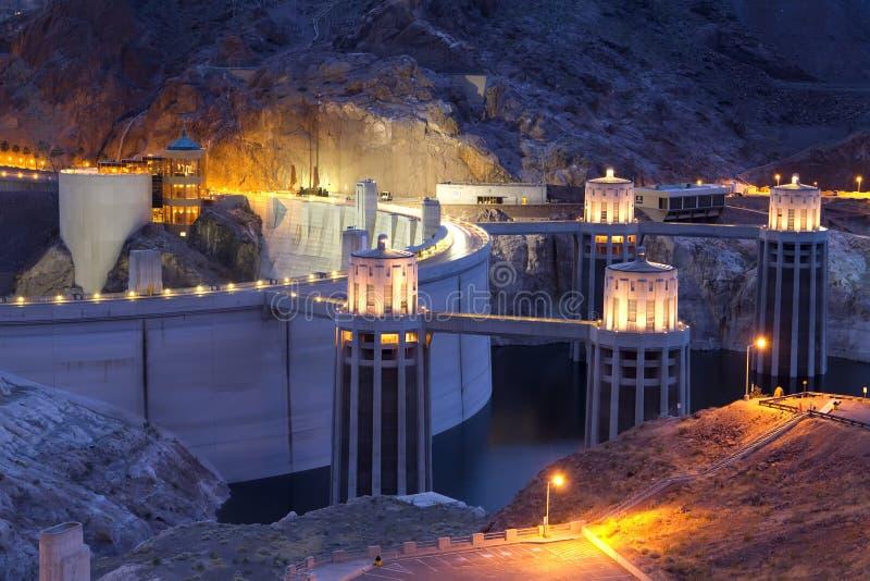 Sera alla diga di Hoover nel Nevada fotografia stock