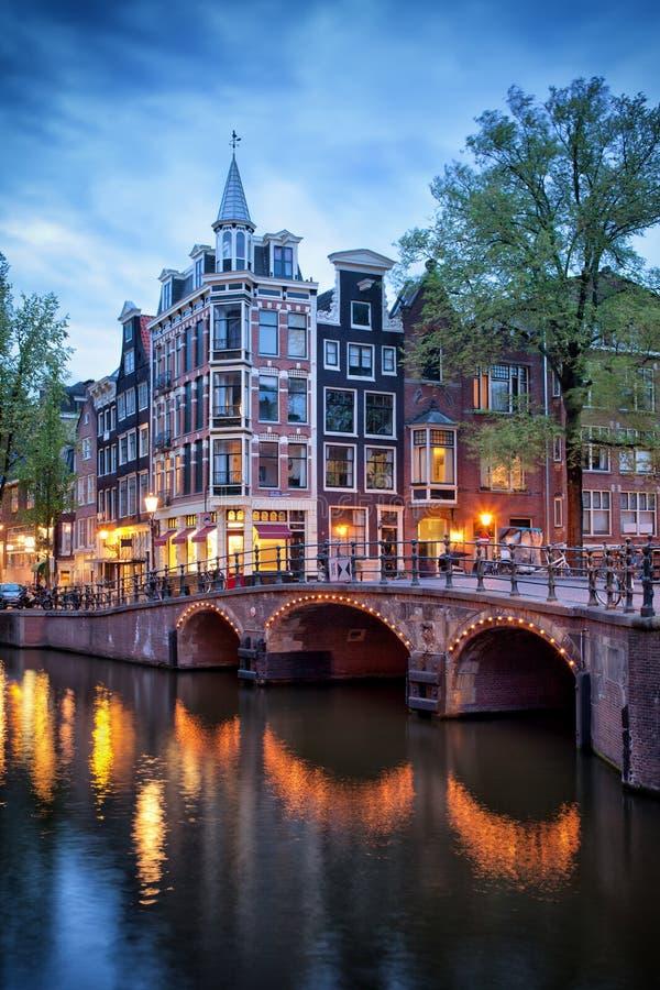 Sera a Amsterdam fotografie stock libere da diritti