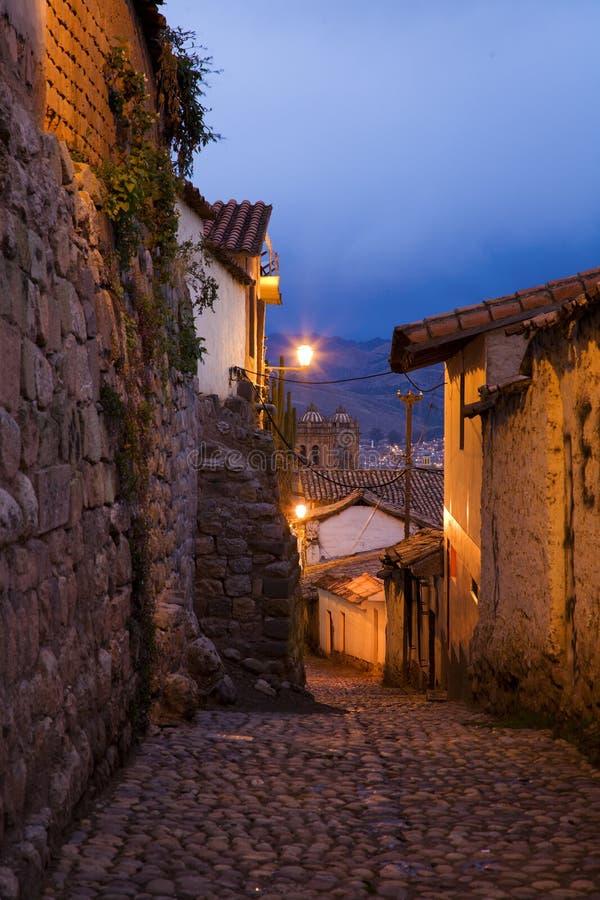 Sera in Cusco immagine stock