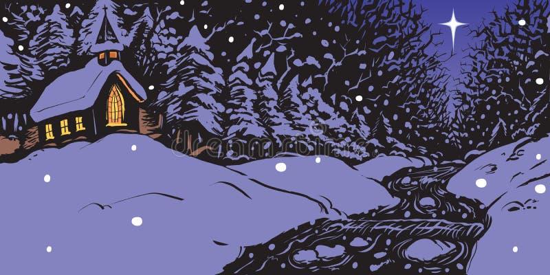 Sera di inverno di Snowy con la chiesa e l'insenatura royalty illustrazione gratis