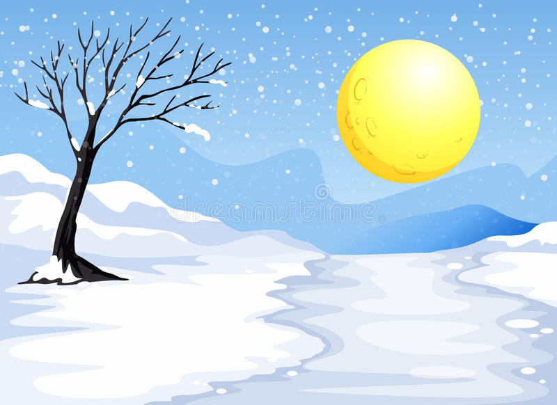 Sera di Snowy illustrazione vettoriale