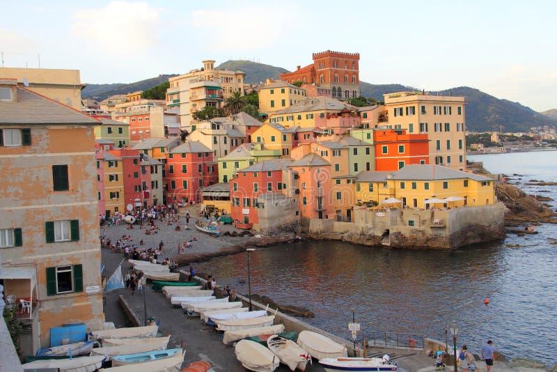 Sera in Genoa Boccadasse fotografie stock
