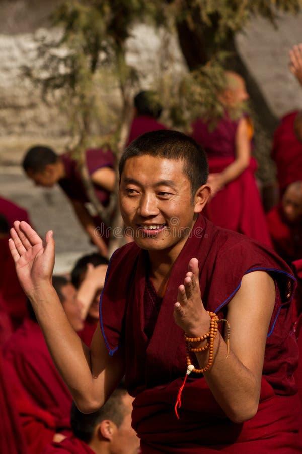 Sera Monastery Debating Monk claps, Lhasa Tibet. Sera Monastery Debating Monk claps in Lhasa, Tibet royalty free stock photo