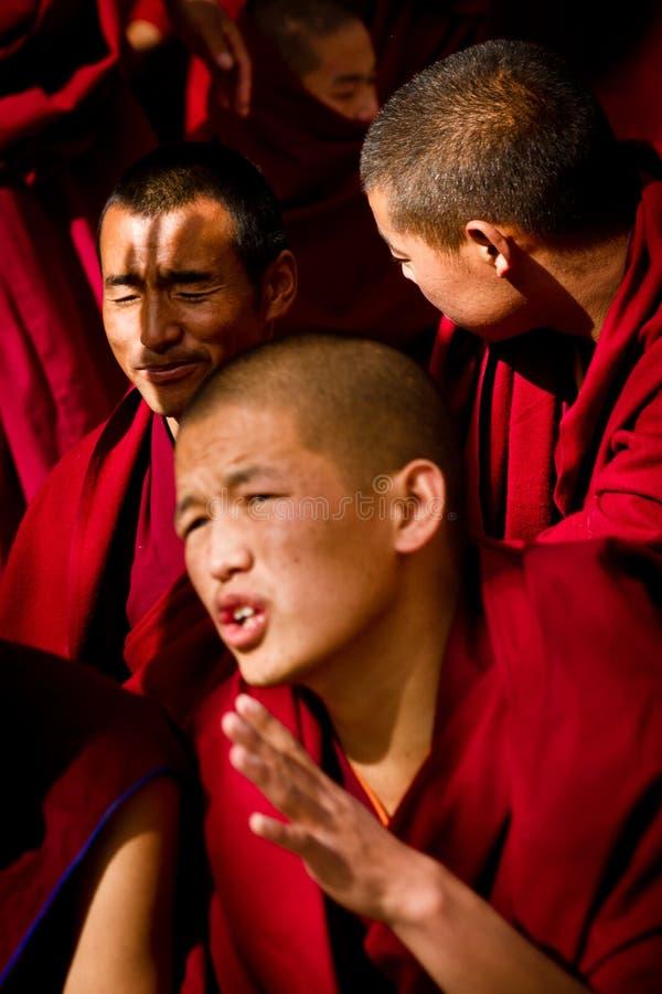 Sera Monastery Debating Monk closes eyes in Lhasa Tibet. Sera Monastery Debating Monks listen to all going on around them, Lhasa, Tibet royalty free stock image