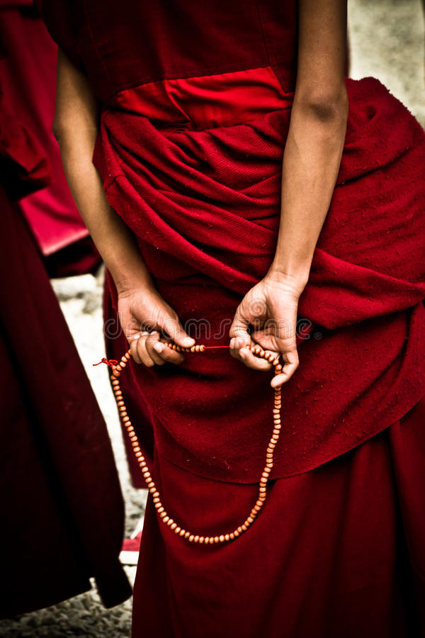 Sera Monastery Debating Monk wit beads, Lhasa Tibet. Sera Monastery Debating Monk with beads and hands in Lhasa, Tibet stock photos