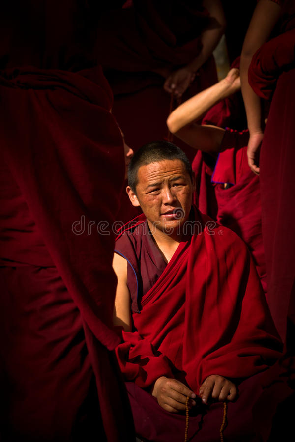 Sera Monastery Debating Monk, a young one, Lhasa Tibet. A young debating monk of Sera Monastery, Lhasa, Tibet stock photography
