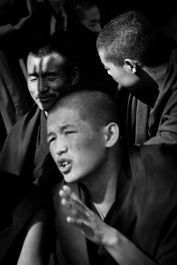 Sera Monastery Debating Monks bandw Lhasa Tibet stock photo