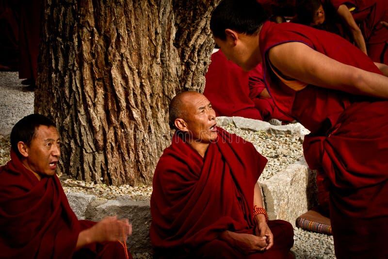 Sera Monastery Debating Monks in Lhasa Tibet stock photography