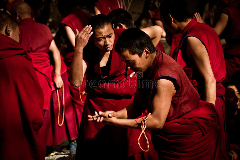 Sera Monastery keen Debating Monks Lhasa Tibet. Sera Monastery keen Debating Monks in Lhasa, Tibet royalty free stock images
