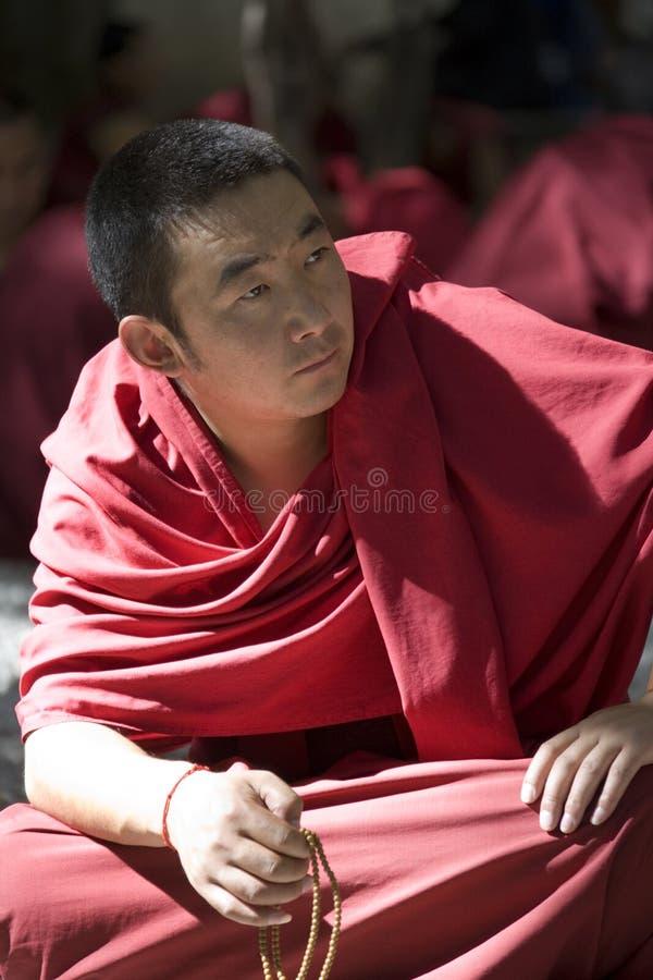 Sera Monastery - Tibet. Monks debating in the grounds of Sera Monastery near Lhasa in the Tibet Autonomous Region of China royalty free stock photos