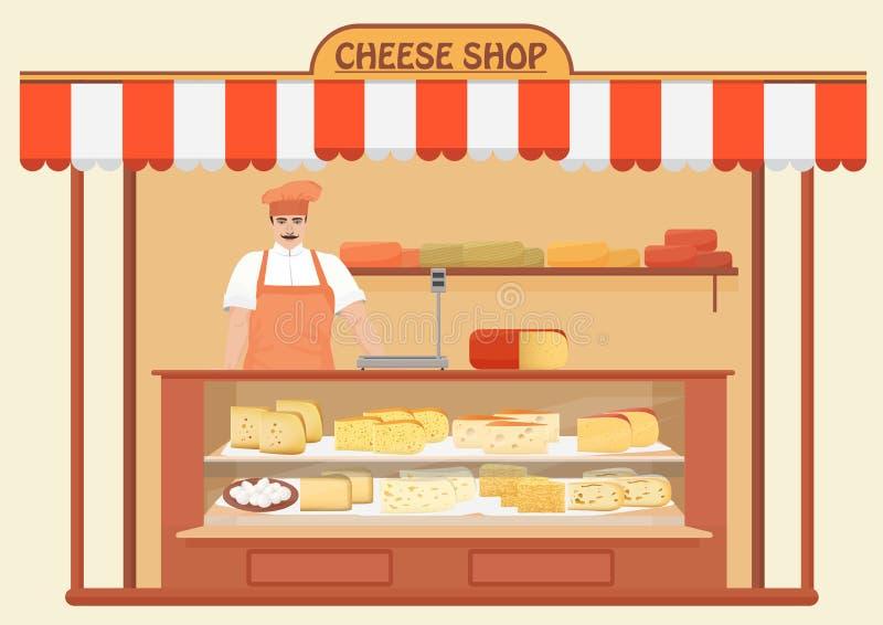 sera sklep Mężczyzna sprzedawca Półki sklepowe z różnym sera setem jakby Parmezańskiego mozarella emmentaler szwajcarski cheddar ilustracja wektor