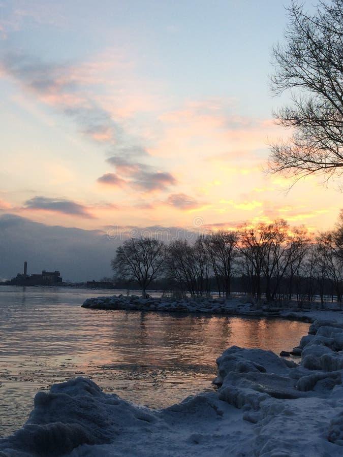 Sera sopra il lago Ontario toronto fotografia stock