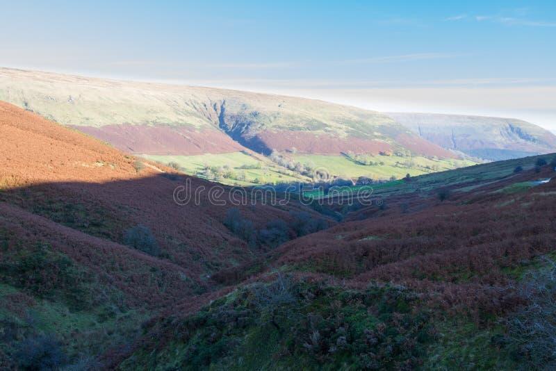 Sera in valle della montagna, Gran-Bretagna fotografie stock