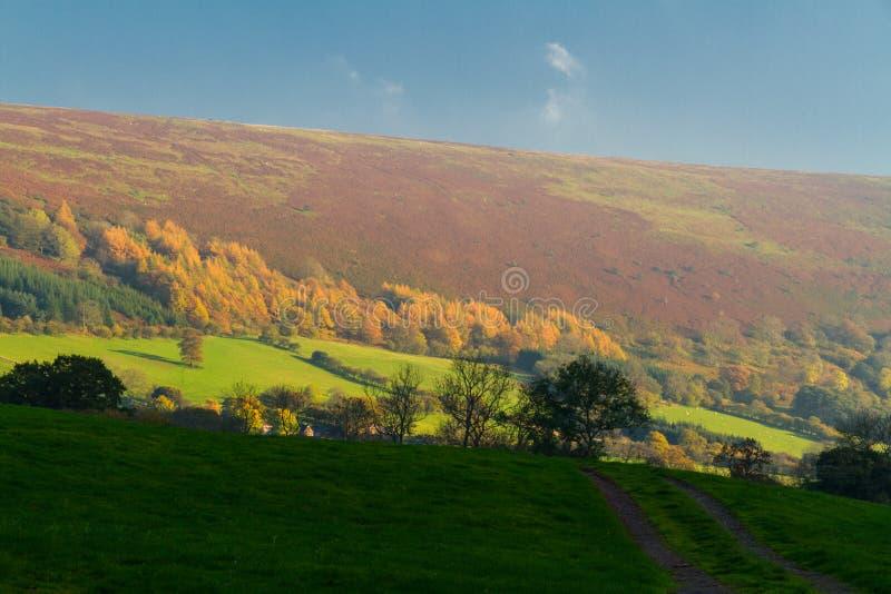 Sera in valle della montagna, Gran-Bretagna immagini stock libere da diritti