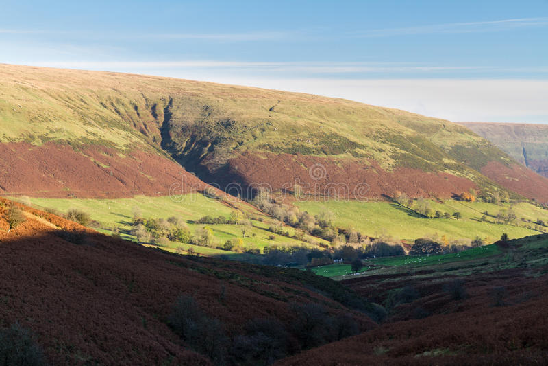 Sera in valle della montagna, Gran-Bretagna fotografia stock