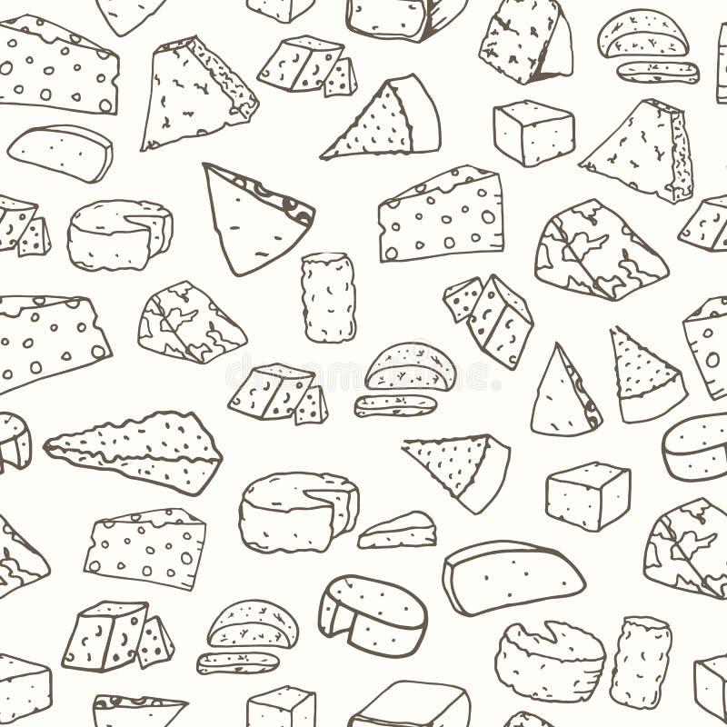 Sera wzór Bezszwowy tło z ręka rysującym różnym serem ilustracja wektor