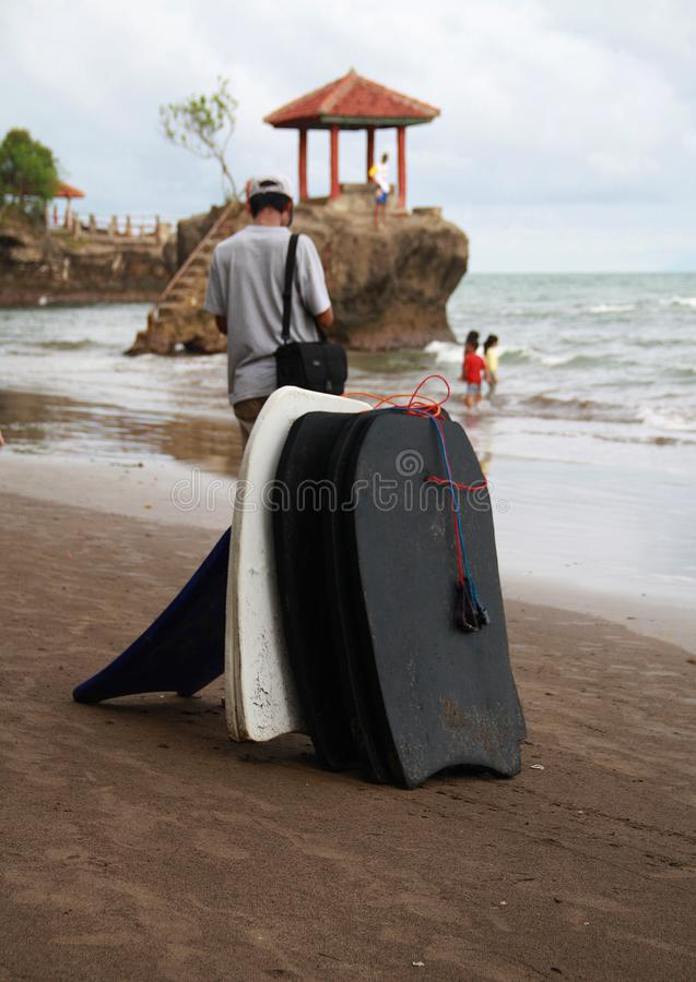 Surfboards on Anyer. Serang, Indonesia - November 12, 2017: Surfboard rental in Karang Bolong Beach, Serang, Banten royalty free stock photo