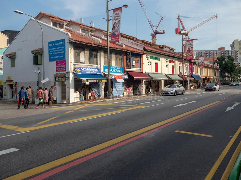 Serangoon Road at Little India Singapore. Singapore - August 20 2018: Serangoon Road at Little India Singapore. Little India is an ethnic district in Singapore stock photography