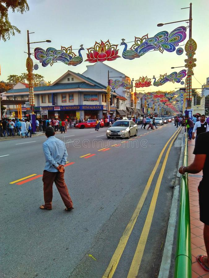 Serangoon Road. People crossing the road in Little India, Singapore royalty free stock photo