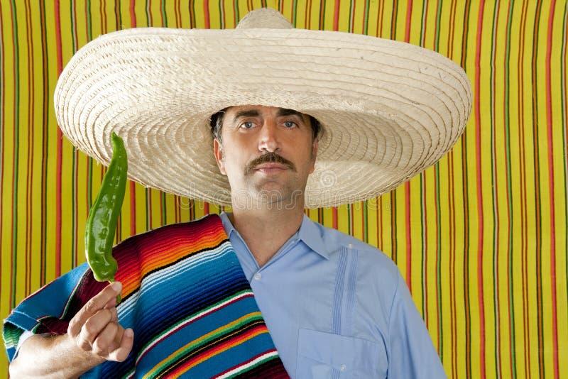 Serape típico del poncho del hombre mexicano de la pimienta caliente del chile imagen de archivo