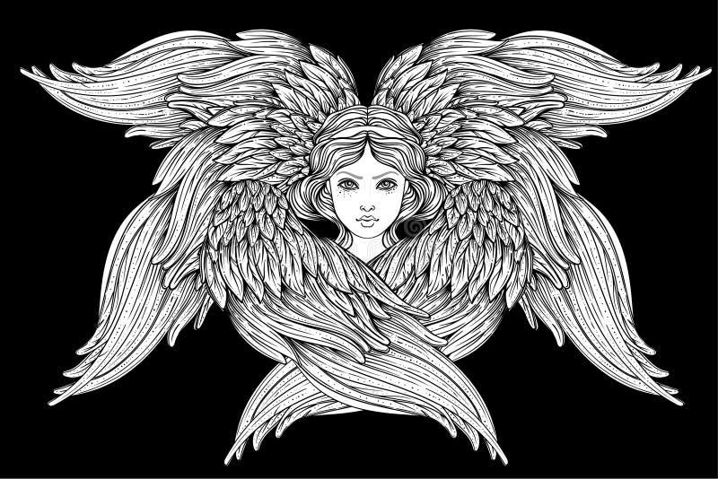 Seraph, sechs geflügelter Engel Hand gezeichnete Abbildung Höchster Rang im christlichen angelology Modische Weinleseart lizenzfreie abbildung