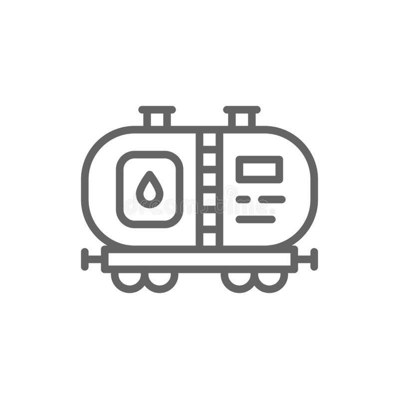 Serbatoio dell'olio, vagone del petrolio con combustibile, linea icona del trasporto della ferrovia illustrazione vettoriale