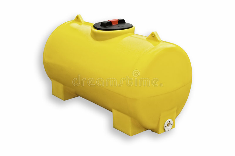 Serbatoio di plastica giallo isolato immagine stock