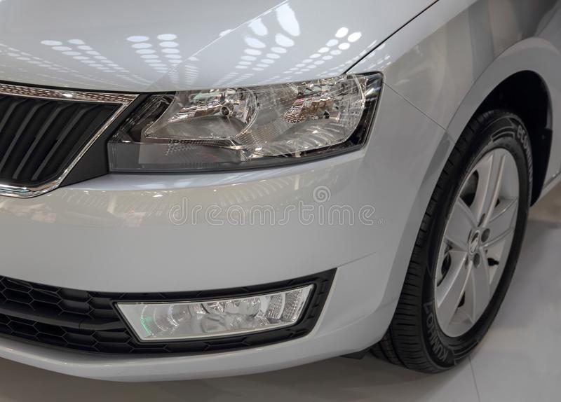 Serbia; Belgrade; April 2, 2017; The close up of Skoda headlight. The 53rd International Motor Show in Belgrade from March 24th to April 2nd, 2017 stock photography